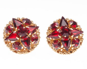 Vintage Red Rhinestone Button Earrings Clipon
