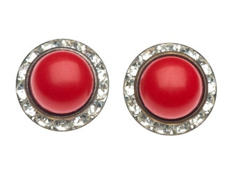 Vintage 1950s Red Button Rhinestone Earrings