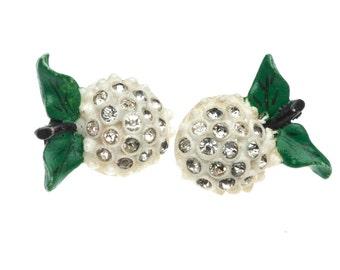 Vintage Early Plastic Forbidden Fruit Earrings Screw back