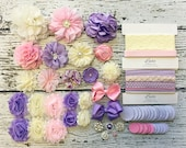DIY Baby Headband Making Kit - Baby Shower Headband Station - MAKES 15+ or 25+ HEADBANDS!! Pink, Lavender, Ivory - Spring 2016 Trend