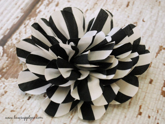 Black And White Stripe Lotus Flowers 4 Fabric Flower