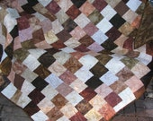 Lap Quilt, Sofa Quilt, Quilted Throw, Batik Quilt, - Brown isn't Boring Anymore