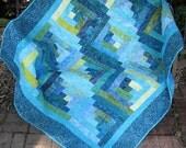 Lap Quilt, Sofa Quilt, Quilted Throw - Handmade Quilt - Log Cabin Lagoon Batik Lap Quilt