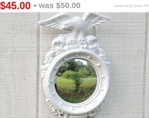 Vintage Federal Style Syroco Convex Mirror, Hand Painted Cottage Style, Custom Painted