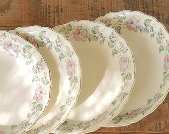Vintage Canonsburg Queen's Rose Dessert Coupe Soup Bowls of 4, Cottage Style Tea Party, Dessert Bowls for Wedding, Mid Century China