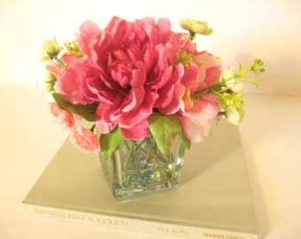 Glass Vase Pinks and Greens in Faux Water