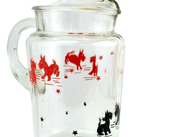 Scottie Dog Pitcher - Federal Glass Company Heavy Drink Pitcher Red and Black Scottie Dogs