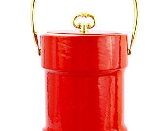 Red Vinyl Like Ice Bucket Gold Handle Accents Vintage Barware Bar Cart