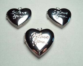 "3 pcs - Silver plated brass Heart lockets with "" I love you"" design - m269w"