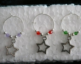 Set of 6 Silver Star Wine Glass Charms with multi coloured adjoining beads