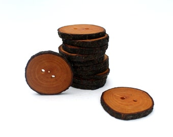 Blackthorn Tree Buttons 12 pcs Medium 1 7/16 inch (36 mm) Handmade wooden tree branch button