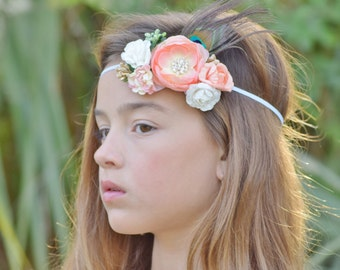Peaches and cream - flower crown - boho chic - flower & feather headband - mulberry paper headband - festival headpiece - spring wedding