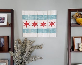 Chicago Flag Wooden Wall Decor, Chicago Flag Sign