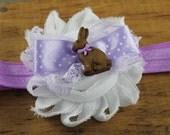 Easter bunny purple and white headband