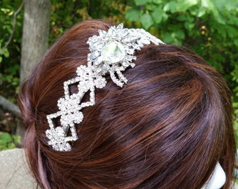 CRYSTAL STATEMENT HEADBAND Bridal Bride Elegant Classic Hollywood Wedding Couture Chic Modern One of a Kind