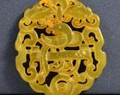 One Bead Lucky Bird Bat Jade Pendant Double Side Gemstone bead Amulet Talisman Carved Long Life Rich Jade Pendant