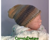 SPECIAL OFFER 30% OFF, Baby Boy Newborn 0-3 months cap,hand knitted hippie slouch beanie,unique kids  hats,shower gift,photo prop ooak,brown