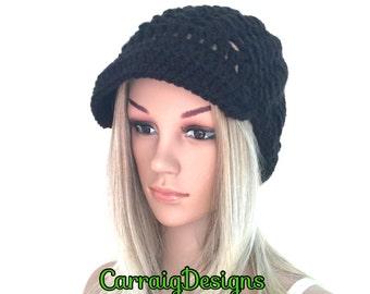BUY1GET1HALFPrice Womens/teens handmade crochet newsboy oversized slouch beanie beret hat,black irish chunky ,holiday gift,winter hat peaked