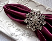 SALE Ex-Large Rhinestone Crystal Silver Brooch NAPKIN RING Holder for Weddings Special Occasion Holiday Table Decoration