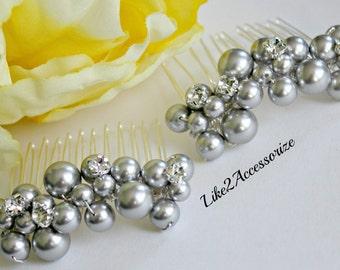 2 Bridal Pearl Hair Comb, Bridal Headpiece, Wedding Pearl Hair Comb, Wedding Hair Accessories, White Grey Vintage Comb Bridesmaid Hair Comb