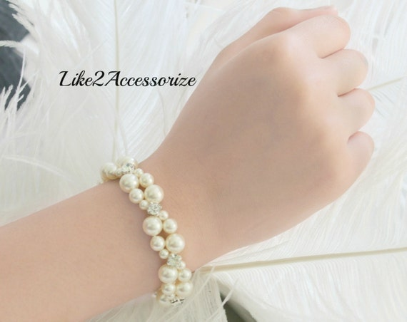 Swarovski White Ivory Pearl Bracelet, Bridal Cuff Bracelet, Two Strand Bracelet Bridal Jewellery Wedding Bracelet Multistrand Pearl Bracelet