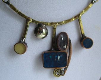 Artisan Abstract Hand Made Modernist Mixed Metals Necklace with Blue Glass & Enamel