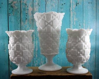 3 Large Westmoreland Old Quilt Vases, Milk Glass,Collection, Centerpiece, wedding, shabby chic, mid century, kistch kitchen