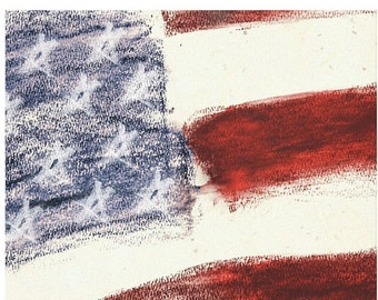 Patriotic Abstract Stretched Canvas Art Print Titled - Amarican Flag