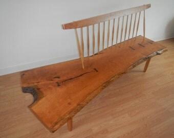 George Nakashima Style Conoid Bench / Mid Century Modern / Danish Modern / Live Edge Bench