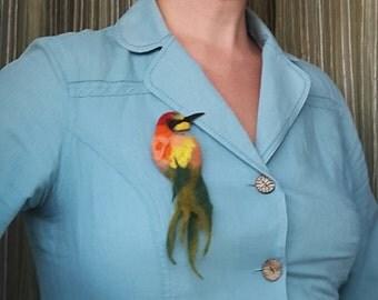 Felted Brooch, Animal Pin, Bird