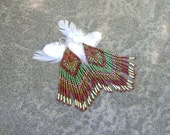 Beaded Fringe Earrings Native American Boho style in Autumn Colors