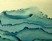 Ink Painting, Ocean Waves, matted, backed, ready for framing