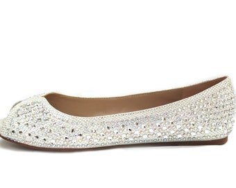 SILVER Peep toe flats with rhinestones. Perfect for brides, bridesmaid gifts, wedding party, and special occasion