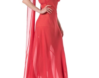 1930s Bias Cut Rose Silk Sheer Gown with attached cape scarf