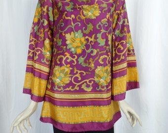 60s groovy New Generation London UK made trumpet sleeve pyschedelic floral print tunic/back zipper/ plum orange and green: US size 4-6