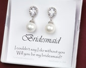 Pearl Bridal Earrings Bridal Jewelry Cream OR White Ivory Pearl Cubic Zirconia Posts,bridesmaid gifts,wedding bridal jewelry