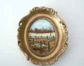 Vintage Miniature Oil Painting - Small Scenic Countryside Oval Picture Signed - Monique BL - Italy