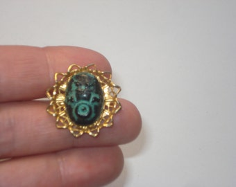 Vintage Turquoise Stone Pin - Gold Tone Blue Filigree Brooch Jewelry - Retro Fashion Jewellery