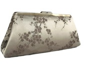Pewter cherry blossoms wedding  clutch  / Bridesmaids gift idea, Elegant classic wedding  / Bridal accessory / Holiday clutch / gift for her