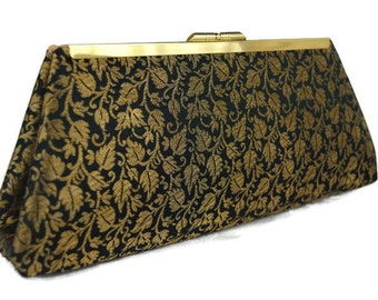 Gold and black wedding  purse/ Bridesmaids gift idea/ Bridal accessory purse/ gold black evening clutch/wedding purse/ gift for her