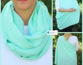Aqua 100% Cotton Muslin Gauze Hold Me Close Nursing Scarf, Nursing Cover, Infinity Nursing Scarf, Nursing Poncho