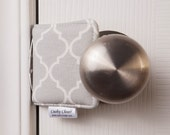The Original Cushy Closer Door Cushion - Gray & White Quatrefoil (small) - Door Latch Cover