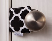 The Original Cushy Closer Door Cushion - Black & White Quatrefoil - Door Latch Cover