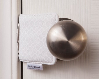 The Original Cushy Closer Door Cushion - White on White Dot - Door Latch Cover