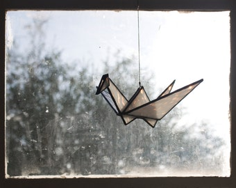 Stained Glass Origami Crane (White)