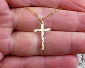14k Solid gold cross pendant necklace, Hammered cross necklace, 14k gold necklace classic cross -Lowest price
