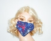 Fireworks, Face warmer, cloth face mask, red blue white, stars, american, unique face mask, flu protection