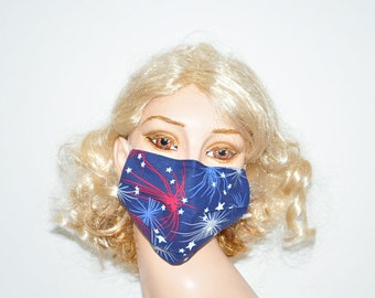 Cute surgical mask, Fireworks, red blue white, stars, american, unique face mask, flu protection