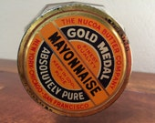 Vintage The Nucoa Butter Co. Gold Medal Mayonnaise Glass Jar and Lid