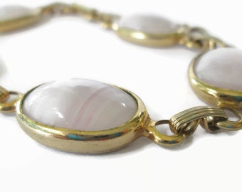 Vintage Sarah Coventry Link Bracelet Pretty Pink and Gold Tone  Signed Fashion Vintage, Elegant Traditional Style